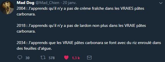 L'utilisateur @Mad_Chien remet la polémique sur la table en janvier 2018 avec un tweet ironique.